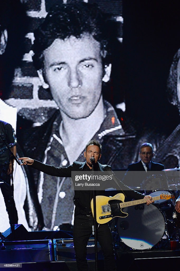 <a gi-track='captionPersonalityLinkClicked' href=/galleries/search?phrase=Bruce+Springsteen&family=editorial&specificpeople=123832 ng-click='$event.stopPropagation()'>Bruce Springsteen</a> performs onstage at the 29th Annual Rock And Roll Hall Of Fame Induction Ceremony at Barclays Center of Brooklyn on April 10, 2014 in New York City.