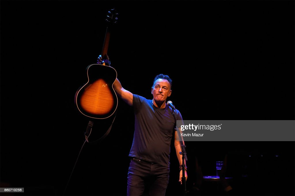Bruce Springsteen performs onstage during 'Springsteen On Broadway' at Walter Kerr Theatre on October 12, 2017 in New York City.
