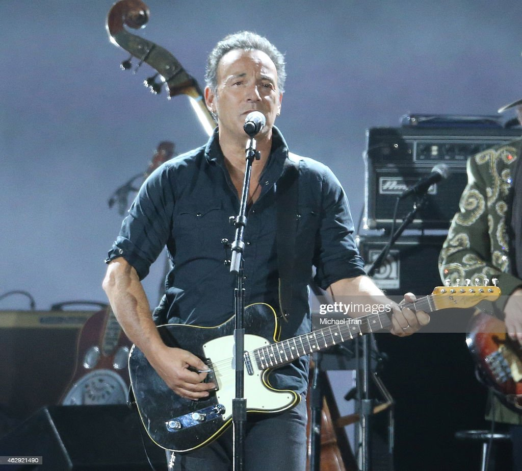Bruce Springsteen performs onstage during the 2015 MusiCares Person of The Year honoring Bob Dylan held at Los Angeles Convention Center on February 6, 2015 in Los Angeles, California.