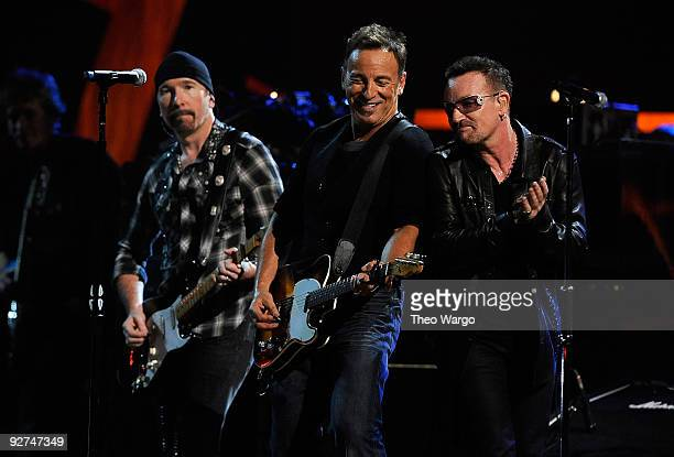 Bruce Springsteen performs onstage with the Edge and Bono of U2 at the 25th Anniversary Rock Roll Hall of Fame Concert at Madison Square Garden on...