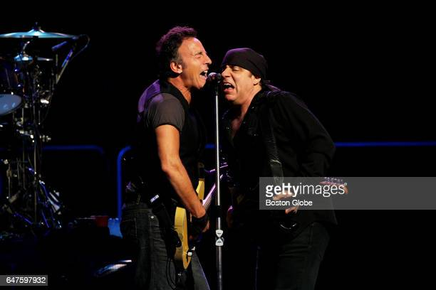 Bruce Springsteen performs with guitarist Steven Van Zandt right at the TD Banknorth Garden in Boston on Apr 21 2009