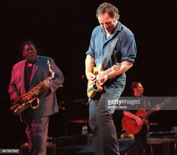 Bruce Springsteen performs with saxophonist Clarence Clemons left and guitarist Nils Lofgren right at the Fleet Center in Boston on Aug 21 1999
