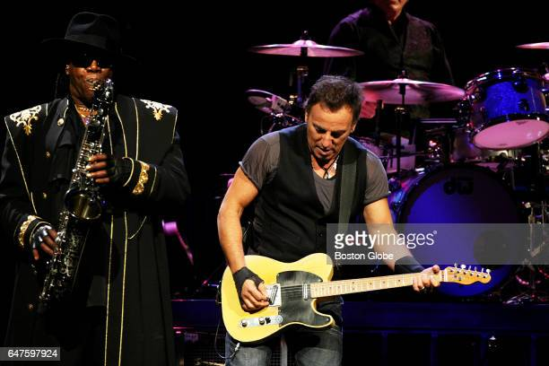 Bruce Springsteen performs with saxophonist Clarence Clemons left at the TD Banknorth Garden in Boston on Apr 21 2009