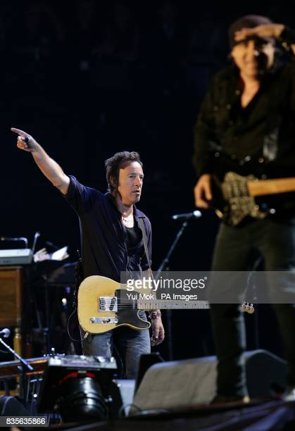 Bruce Springsteen performs with the E Street band during the 2009 Glastonbury Festival at Worthy Farm in Pilton Somerset