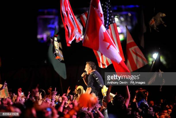 Bruce Springsteen performs with the E Street band during the 2009 Glastonbury Festival at Worthy Farm in Pilton Somerset Picture date Saturday June...