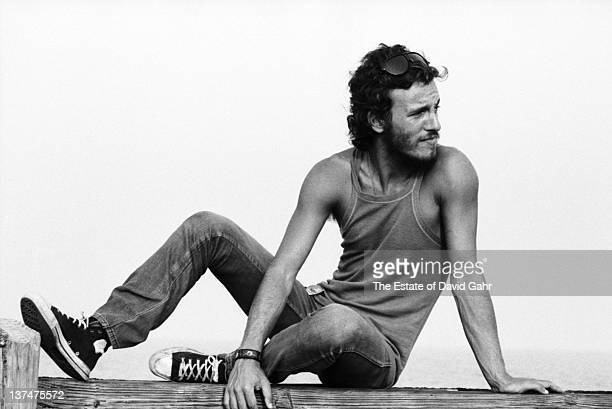 Bruce Springsteen poses for a portrait at the Jersey Shore in August 1973 in New Jersey