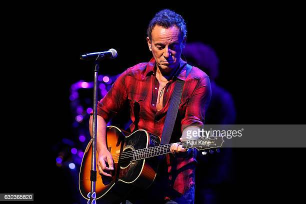Bruce Springsteen rehearses during his sound check at Perth Arena on January 22 2017 in Perth Australia
