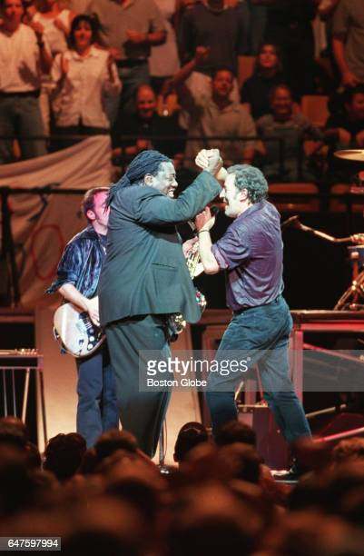 Bruce Springsteen right and saxophonist Clarence Clemons are pictured on stage during a performance at the Fleet Center in Boston on Aug 27 1999