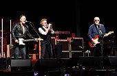 Bruce Springsteen Roger Daltrey and Pete Townshend perform onstage during MusiCares MAP Fund Benefit Concert at Best Buy Theater on May 28 2015 in...