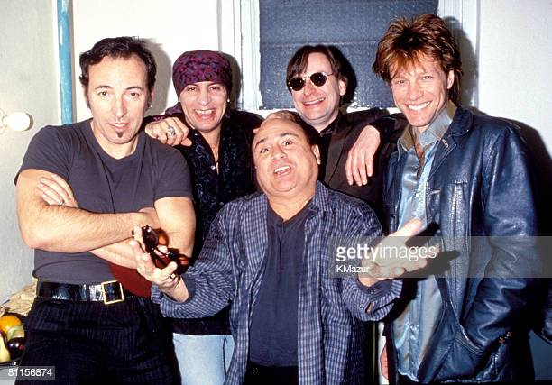 Bruce Springsteen Steven Van Zandt and Garry W Tallent of the E Street Band with Danny DeVito and Jon Bon Jovi at Sgt Patrick King Benefit Concert