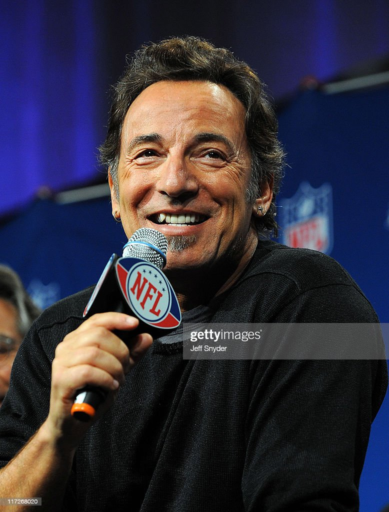 Bruce Springsteen talks during a press conference about the NFL Super Bowl XLIII halftime entertainment in Tampa, FL.