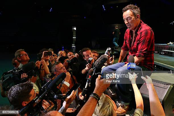Bruce Springsteen talks with the media following his sound check at Perth Arena on January 22 2017 in Perth Australia