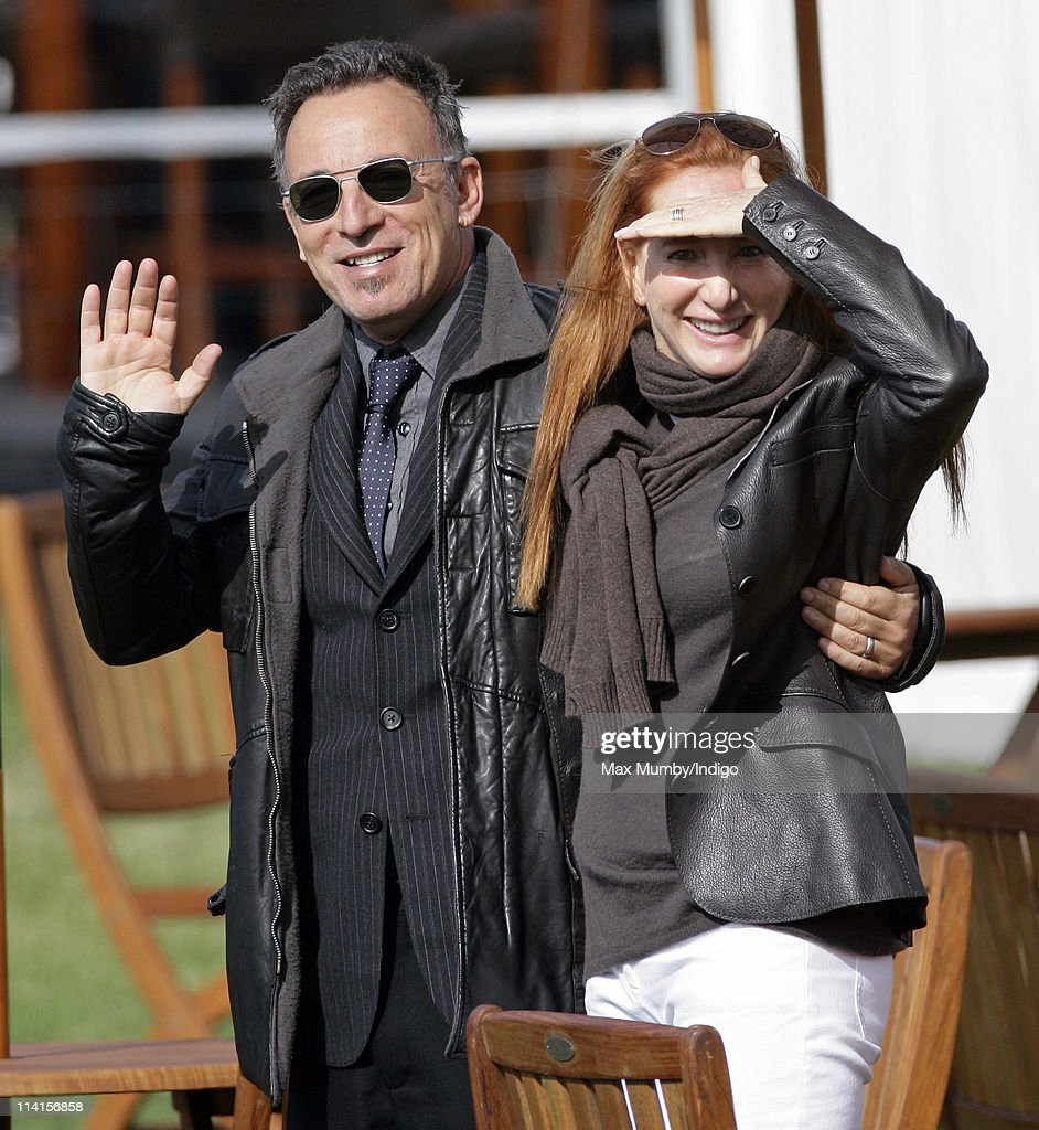 <a gi-track='captionPersonalityLinkClicked' href=/galleries/search?phrase=Bruce+Springsteen&family=editorial&specificpeople=123832 ng-click='$event.stopPropagation()'>Bruce Springsteen</a> waves after he and wife <a gi-track='captionPersonalityLinkClicked' href=/galleries/search?phrase=Patti+Scialfa&family=editorial&specificpeople=228282 ng-click='$event.stopPropagation()'>Patti Scialfa</a> watch their daughter Jessica Springsteen compete in the show jumping event at the Royal Windsor Horse Show on May 13, 2011 in Windsor, England.