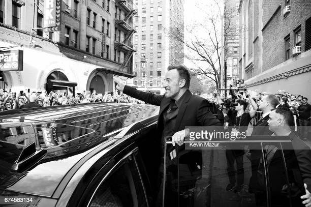 Bruce Springsteen waves to fans after Tribeca Talks Bruce Springsteen And Tom Hanks 2017 Tribeca Film Festival on April 28 2017 in New York City