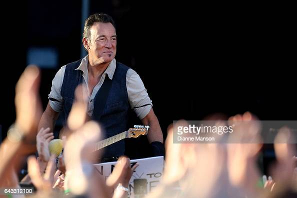 Bruce Springteen and the E Street Band perform during their Summer 17 Tour at AMI Stadium on February 21 2017 in Christchurch New Zealand