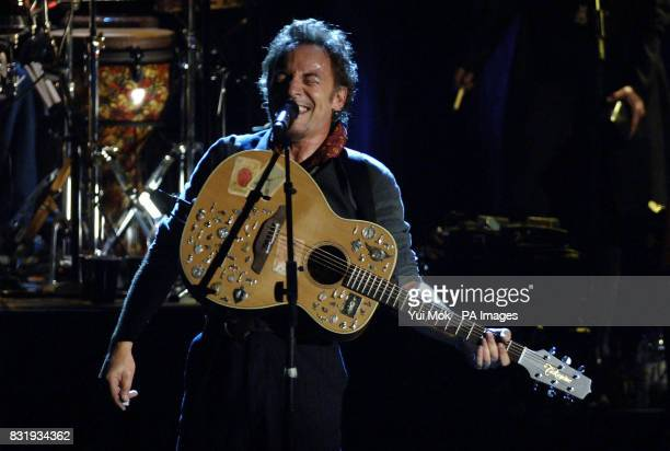 Bruce Springteen performing on stage at the Hammersmith Apollo in west London