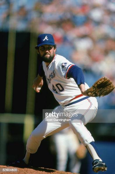 Bruce Sutter of the Atlanta Braves winds up for the pitch during a game in1985 Bruce Sutter played for the Atlanta Braves from 19851988