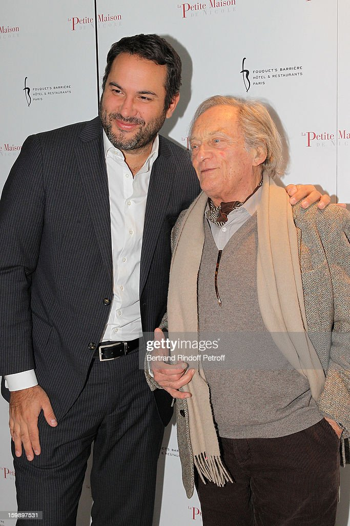 Bruce Toussaint (L) and Philippe Tesson attend 'La Petite Maison De Nicole' Inauguration Photocall at Hotel Fouquet's Barriere on January 22, 2013 in Paris, France.