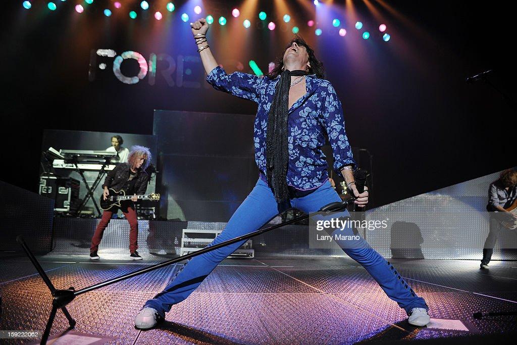 Bruce Watson, Mick Jones, Kelly Hansen, Michael Bluestein and Mark Scholman of Foreigner peform at Hard Rock Live! in the Seminole Hard Rock Hotel & Casino on January 9, 2013 in Hollywood, Florida.