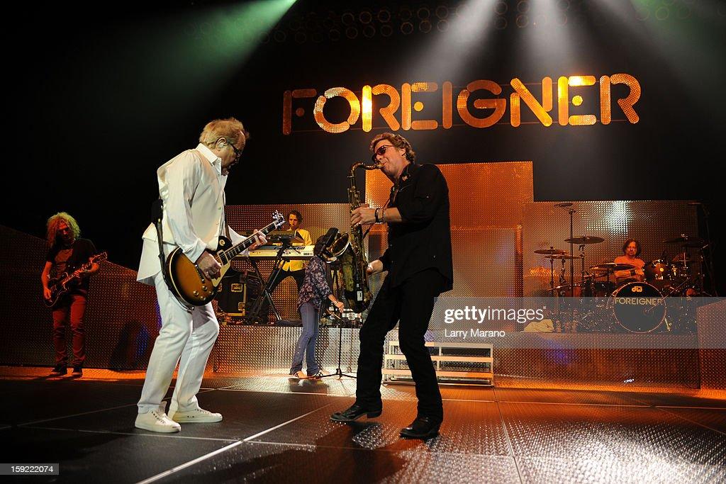 Bruce Watson, Mick Jones, Kelly Hansen, Michael Bluestein, Tom Gimbel and Mark Scholman of Foreigner peform at Hard Rock Live! in the Seminole Hard Rock Hotel & Casino on January 9, 2013 in Hollywood, Florida.
