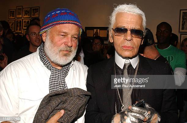 Bruce Weber and Karl Lagerfeld during Bruce Weber's 'Whirligig' Show Opening at Fahey / Klein Gallery in Los Angeles California United States
