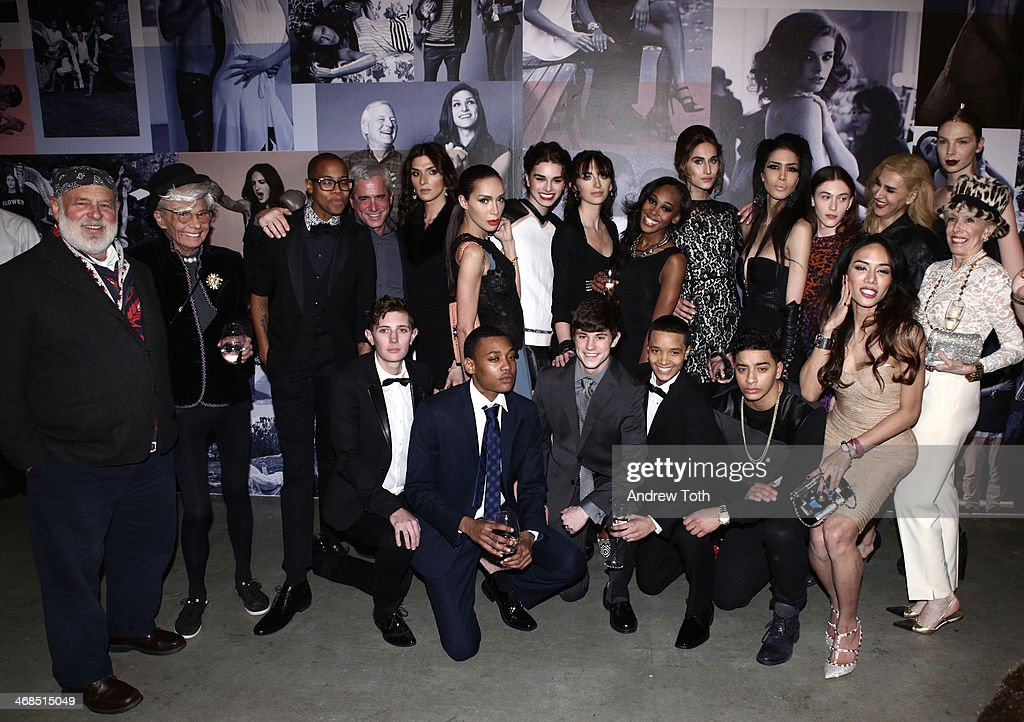 Bruce Weber and models from Brothers, Sisters, Sons And Daughters attend the dinner to celebrate the Brothers, Sisters, Sons And Daughters Spring 2014 campaign launch on February 10, 2014 in New York City.