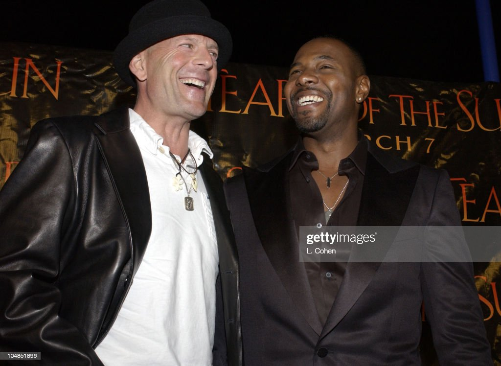 Bruce Willis and director Antoine Fuqua during 'Tears Of The Sun' Premiere at Mann's Village in Westwood California United States