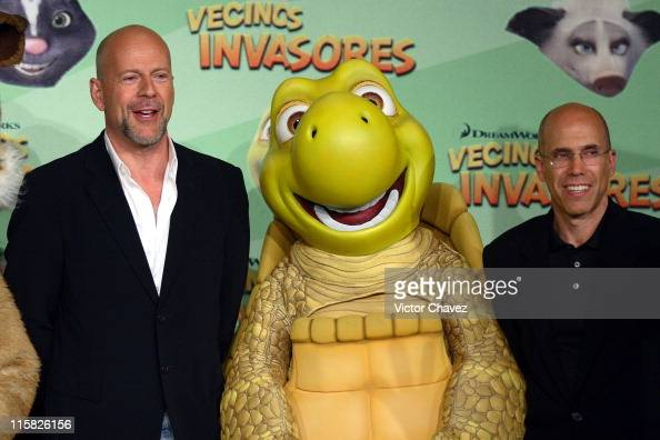 Bruce Willis and Dreamworks' Jeffrey Katzenberg during 'Over The Hedge' Mexico City Press Conference at Hotel Camino Real in Mexico Mexico Mexico
