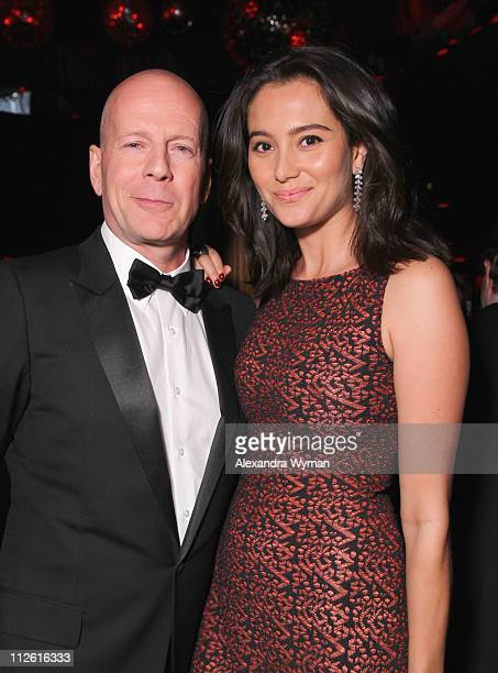 Bruce Willis and Emma Heming attends the InStyle and Warner Bros 68th annual Golden Globe awards postparty at The Beverly Hilton hotel on January 16...
