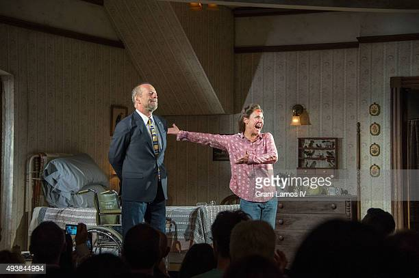 Bruce Willis and Laurie Metcalf onstage during the first Broadway performance curtain call of 'Misery' at the Broadhurst Theatre on October 22 2015...