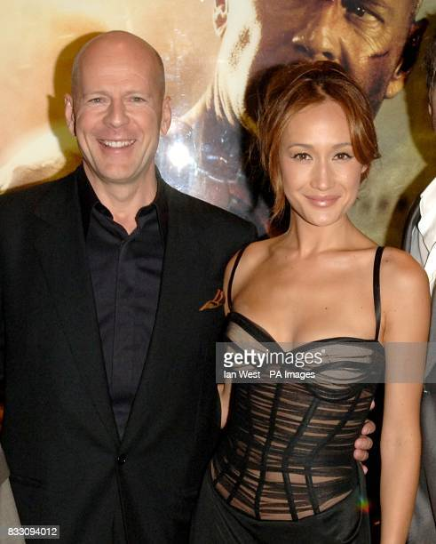 Bruce Willis and Maggie Q arrive for the UK Premiere of Die Hard 40 at The Empire Cinema in Leicester Square central London