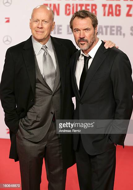 Bruce Willis and Sebastian Koch attend 'Die Hard Ein Guter Tag Zum Sterben' Germany Premiere at Cinestar Potsdamer Platz on February 4 2013 in Berlin...