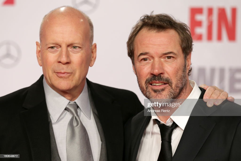 Bruce Willis and Sebastian Koch attend 'Die Hard - Ein Guter Tag Zum Sterben' Germany Premiere at Cinestar Potsdamer Platz on February 4, 2013 in Berlin, Germany.