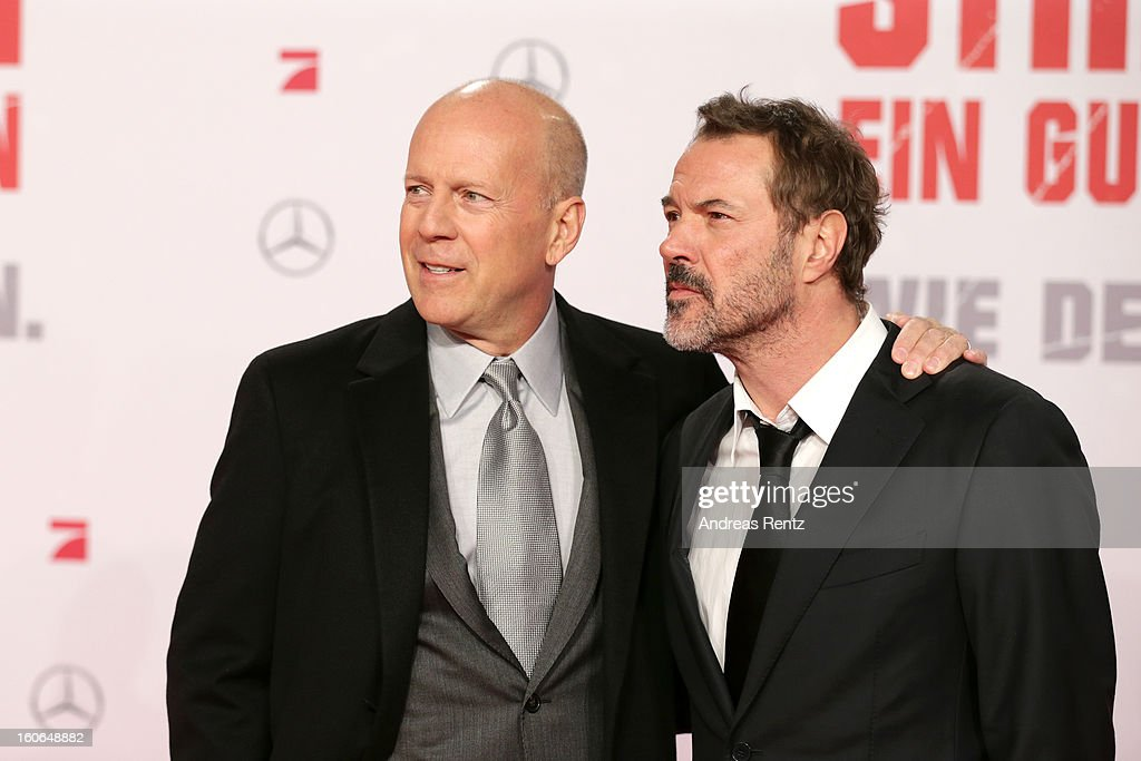 <a gi-track='captionPersonalityLinkClicked' href=/galleries/search?phrase=Bruce+Willis&family=editorial&specificpeople=202185 ng-click='$event.stopPropagation()'>Bruce Willis</a> and <a gi-track='captionPersonalityLinkClicked' href=/galleries/search?phrase=Sebastian+Koch&family=editorial&specificpeople=636122 ng-click='$event.stopPropagation()'>Sebastian Koch</a> attend 'Die Hard - Ein Guter Tag Zum Sterben' Germany Premiere at Cinestar Potsdamer Platz on February 4, 2013 in Berlin, Germany.