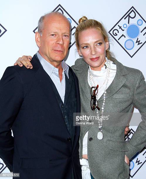 Bruce Willis and Uma Thuman attend the Room to Grow 2016 Spring Gala at Tribeca Three Sixty on April 14 2016 in New York City
