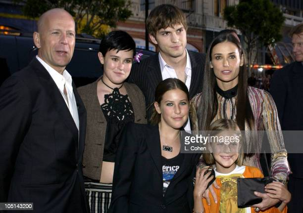 Bruce Willis Ashton Kutcher and Demi Moore with daughters