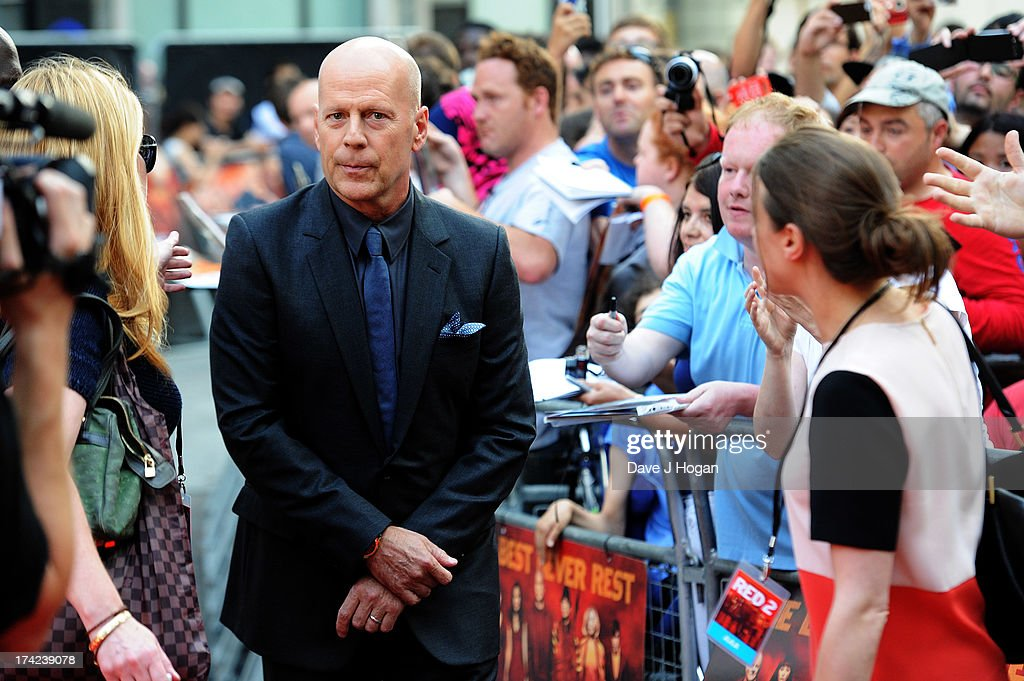 Bruce Willis attends the European premiere of 'Red 2' at The Empire Leicester Square on July 22, 2013 in London, England.