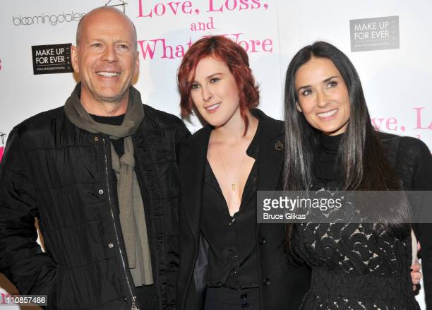 Bruce Willis daughter Rumer Willis and Demi Moore pose at the 'Love Loss What I Wore' new cast member celebration at B Smith's Restaurant on March 24...