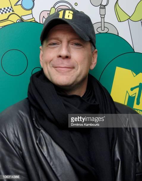 Bruce Willis during Bruce Willis Visits MTV's 'TRL' February 28 2006 at MTV Studios in New York City New York United States