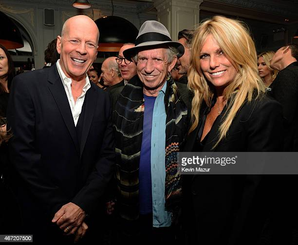 Bruce Willis Keith Richards and Patti Hansen celebrate Bruce Willis' 60th birthday at Harlow on March 21 2015 in New York City
