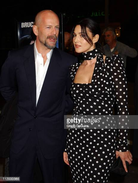 Bruce Willis Monica Bellucci during 'Hart's War' Premiere at Mann National in Westwood California United States