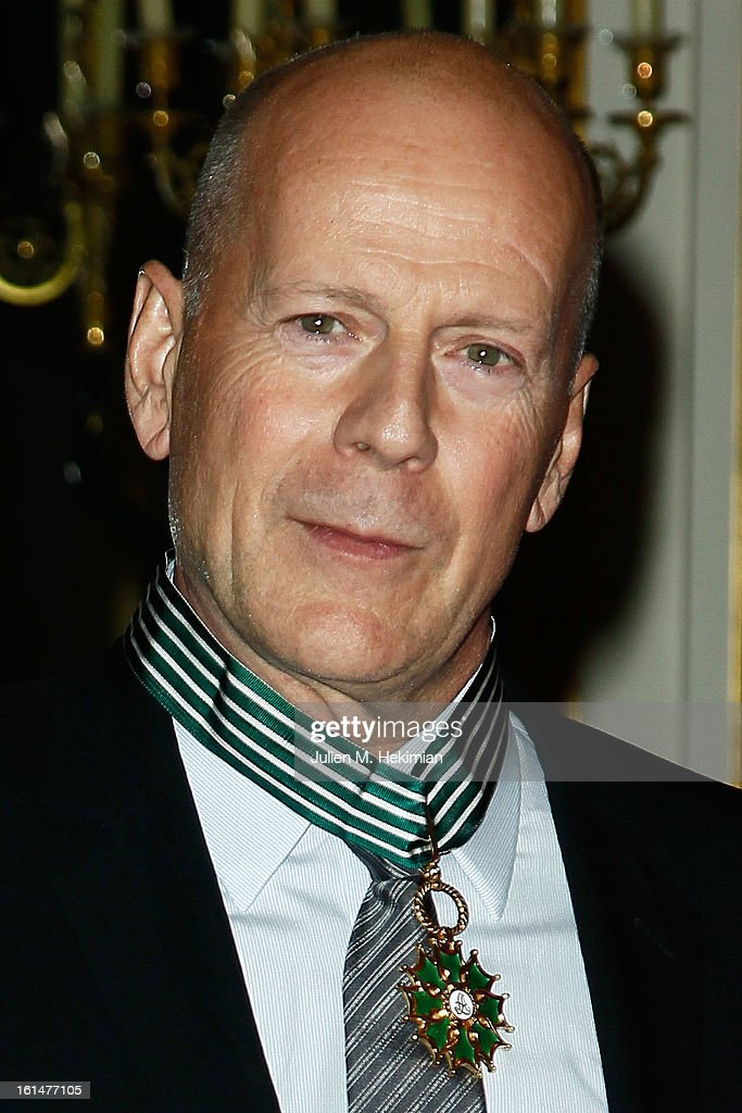 Bruce Willis poses after being awarded Commandeur dans l'Ordre des Arts et Lettres at Ministere de la Culture on February 11, 2013 in Paris, France.