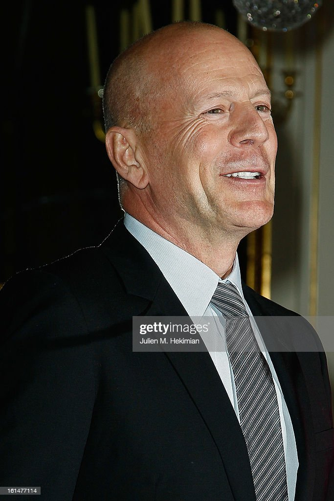 <a gi-track='captionPersonalityLinkClicked' href=/galleries/search?phrase=Bruce+Willis&family=editorial&specificpeople=202185 ng-click='$event.stopPropagation()'>Bruce Willis</a> poses after being awarded Commandeur dans l'Ordre des Arts et Lettres at Ministere de la Culture on February 11, 2013 in Paris, France.