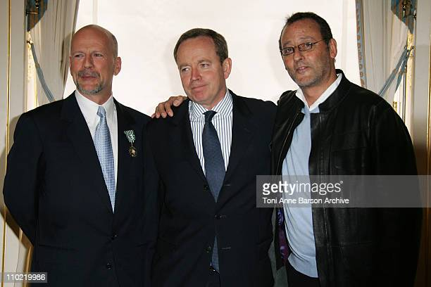 Bruce Willis Renaud Donnedieu de Vabres French Minister of Culture and Communication and Jean Reno