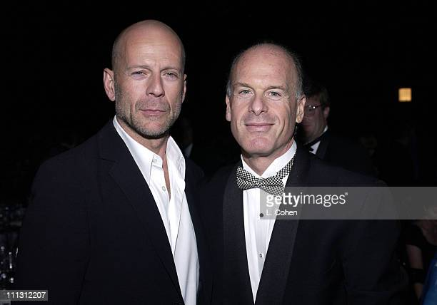 Bruce Willis Robert Kraft during The City of Hope Celebrates 'The Big Screen' at Barker Hangar in Santa Monica California United States