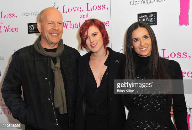 Bruce Willis Rumer Willis and Demi Moore attend 'Love Loss What I Wore' new cast member celebration at B Smith's Restaurant on March 24 2011 in New...
