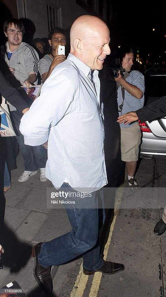 Bruce Wills leaving the C Restaurant on July 21, 2013 in London, England.