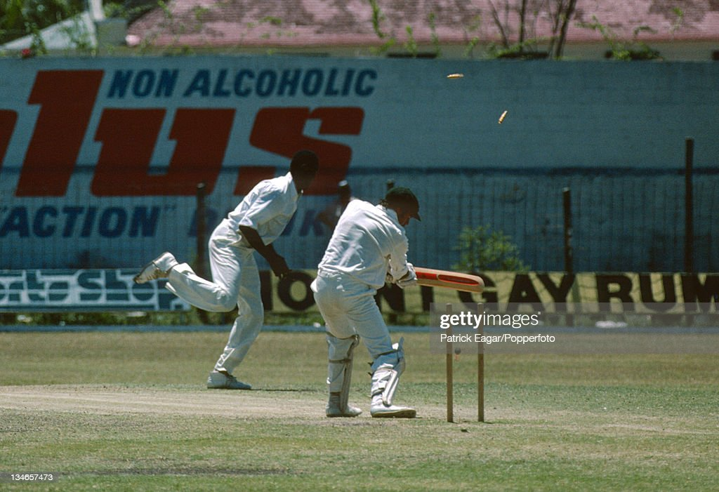 Bruce Yardley is bowled by Joel Garner West Indies v Australia 2nd Test Bridgetown March 197778