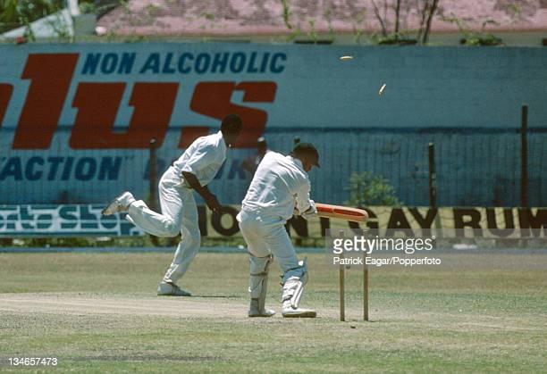Bruce Yardley is bowled by Joel Garner West Indies v Australia 2nd Test Bridgetown March 197778
