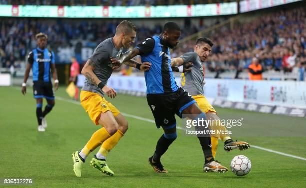 Club Brugge v Aek Athens / Ognjen VRANJES Stefano DENSWIL Petros MANTALOS / Football Uefa Europa League 2017 2018 PlayOffs 1st leg / Picture Vincent...